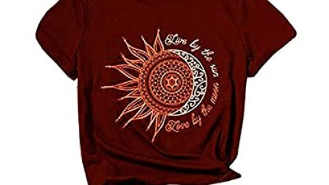Live by The Sun Love by The Moon Graphic T-Shirts Women Sun and Moon Printed Short Sleeve Casual Tee Tops