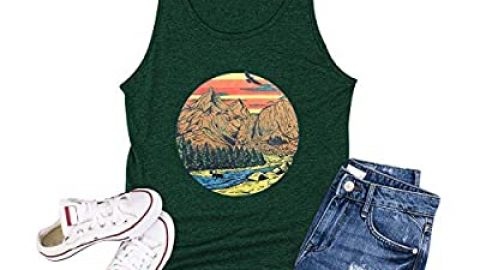 Mountain Graphic Tank Tops for Women Hiking Nature T-Shirt Casual Camping Sleeveless Vest