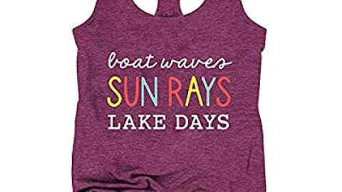 Boat Waves Sun Rays Lake Days Tank Tops Women Funny Letter Print Tee Summer Vacation Sleeveless Vest Top